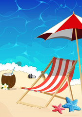 Beach with lounger and umbrella