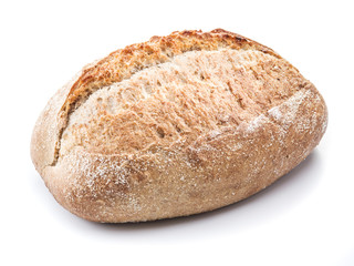 A loaf of bread on a white background.