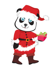 cute panda bear in red Santa's costume isolated