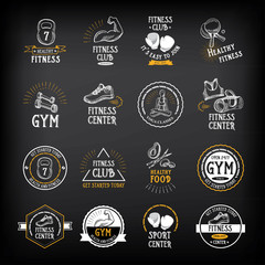 Gym and fitness club logo design, sport badge.