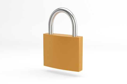 Locked Padlock 3d Isolated. Security or Safety Concept Background.