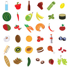 Vector isolated set meal vegetables and fruit flat art