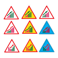 sign, symbol, concepts, street, arrow, graph, colors, ideas, market, mode, forecasting, chrome
