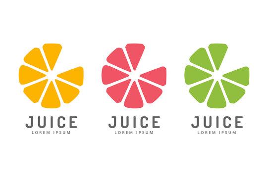 Lime or lemon fruit drink logo icon template design. Fresh