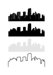 City Building Skyline Silhouette Variation Package