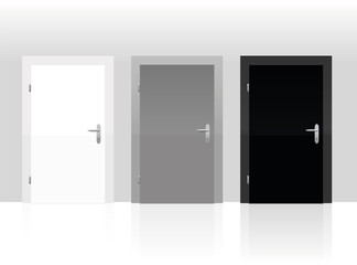 Three doors to choose - white, gray or black. Vector illustration.
