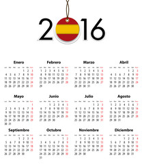Spanish calendar grid for 2016 with flag like tag