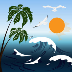Vector image sea landscape in summer