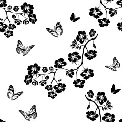 Twig cherry blossoms and butterfly. Seamless
