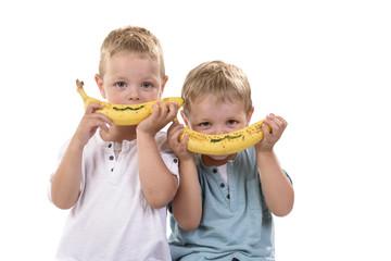 Canvas Prints Grocery kinderen lachen met de banaan