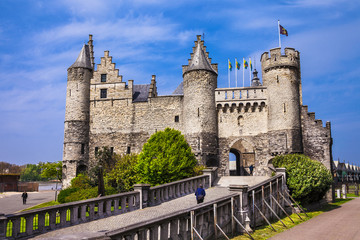 Photo Blinds Antwerp Landmarks of Belgium - Het Steen castle in Antwerpen