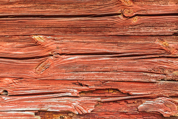 Typical red painted wooden wall in Sweden