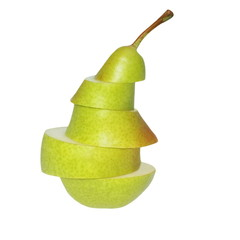 sliced pear fruits isolated on white background, with clipping path