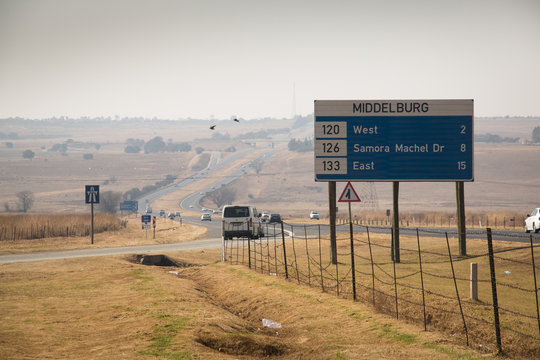 Road with roadsigns in Middelburg in South Africa
