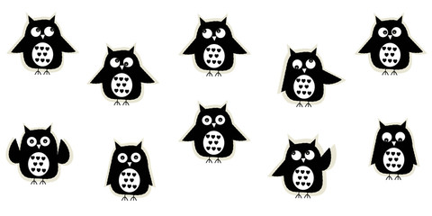 Black white owl vector background