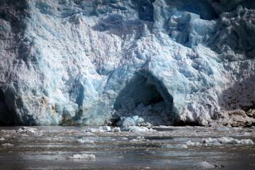 Glacier's blue ice in Svalbard, Norway