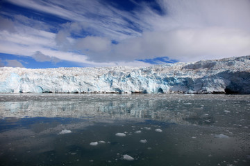 Glacier's blue ice in Svalbard, Norway