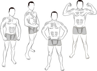 stronq man in the various poses