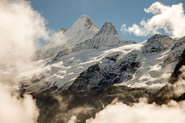 Clouds, ice and snow caps on Eiger,near Grindelwald, Switzerland
