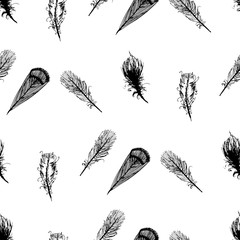 Seamless graphic pattern of feathers