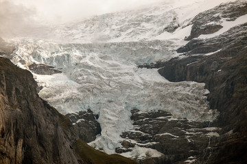 Glaciers and permanent snow on Eiger, near Grindelwald, Switzerland