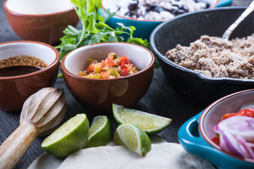 Ingredients for traditional mexican burrito