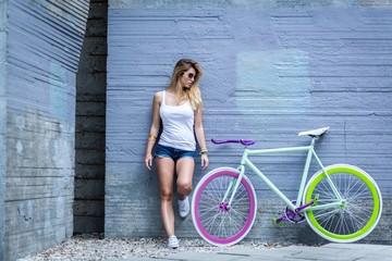 Girl and her trendy bike