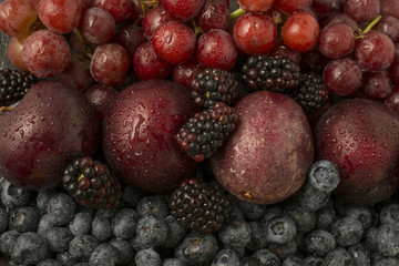 Mixed red and blue fruit