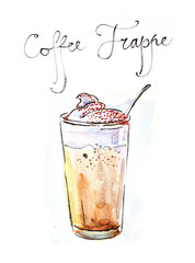 Watercolor coffee frappe