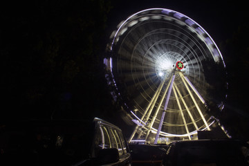 big and giant ferris wheel at night