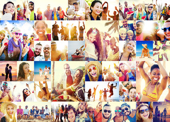 Collage Diverse Faces Summer Beach People Concept Wall mural