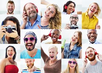 Diverse People Variation Portraits Summer Concept
