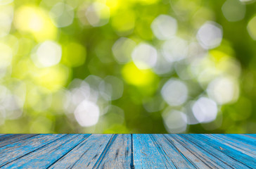 old wooden on abstract nature bokeh background