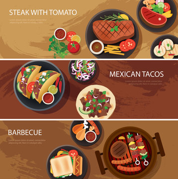 street food web banner, steak , mexican tacos, barbecue