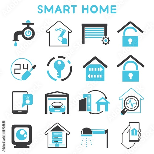 smart home icons blue theme stock image and royalty free vector files on pic. Black Bedroom Furniture Sets. Home Design Ideas