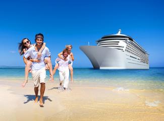Summer Couple Island Beach Cruise Ship Concept