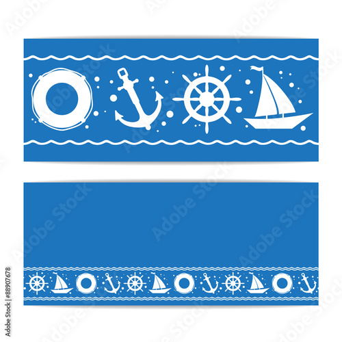 banners with nautical pattern marine concept flyer vector sailing