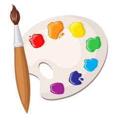 Paintbrush and palette of paints