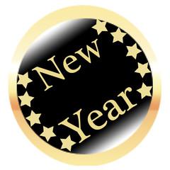 Runder New Year Button in gelb schwarz auf weißem Hintergrund