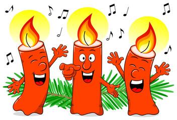 Cartoon Weihnachtskerzen singen ein Weihnachtslied