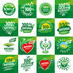 large set vector logos for natural products