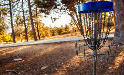 Midway disk golf throw.