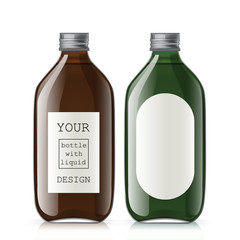 Set of different empty glass bottles