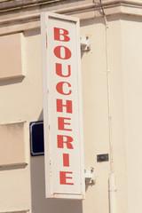 Boucherie sign in French village