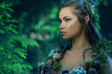 Elf woman in a magical forest Wall mural