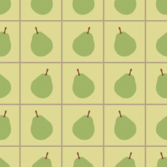 Green pears seamless pattern. Repeating illustrations of pears yellow squared background in pattern.