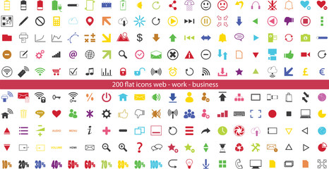 200 colorful internet flat icons