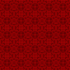 Seamless Chinese window tracery lattice square line pattern.