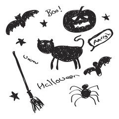 Simple sketch of Halloween objects