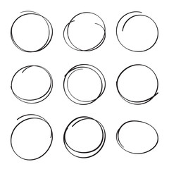 Set hand drawn ovals, felt-tip pen circles.